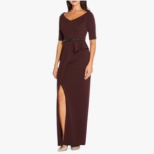 Adrianna Papell Long Embellished Dress Wine- 16